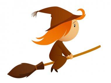 Flying halloween cartoon witch on the broom