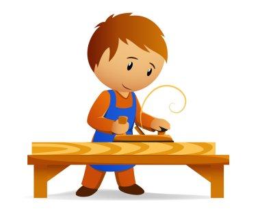 Cartoon carpenter in blue apron rasp the wooden board