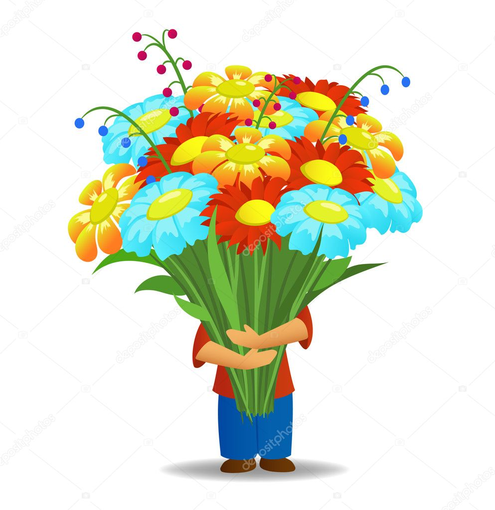 Men who hold big bouquet of beautiful flowers stock for Biggest bouquet of flowers