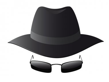 Black sun glasses and spy hat