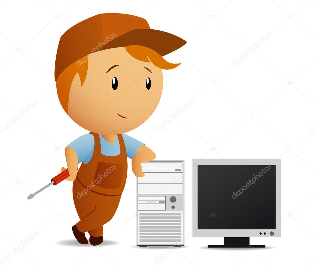Cartoon serviceman with computer