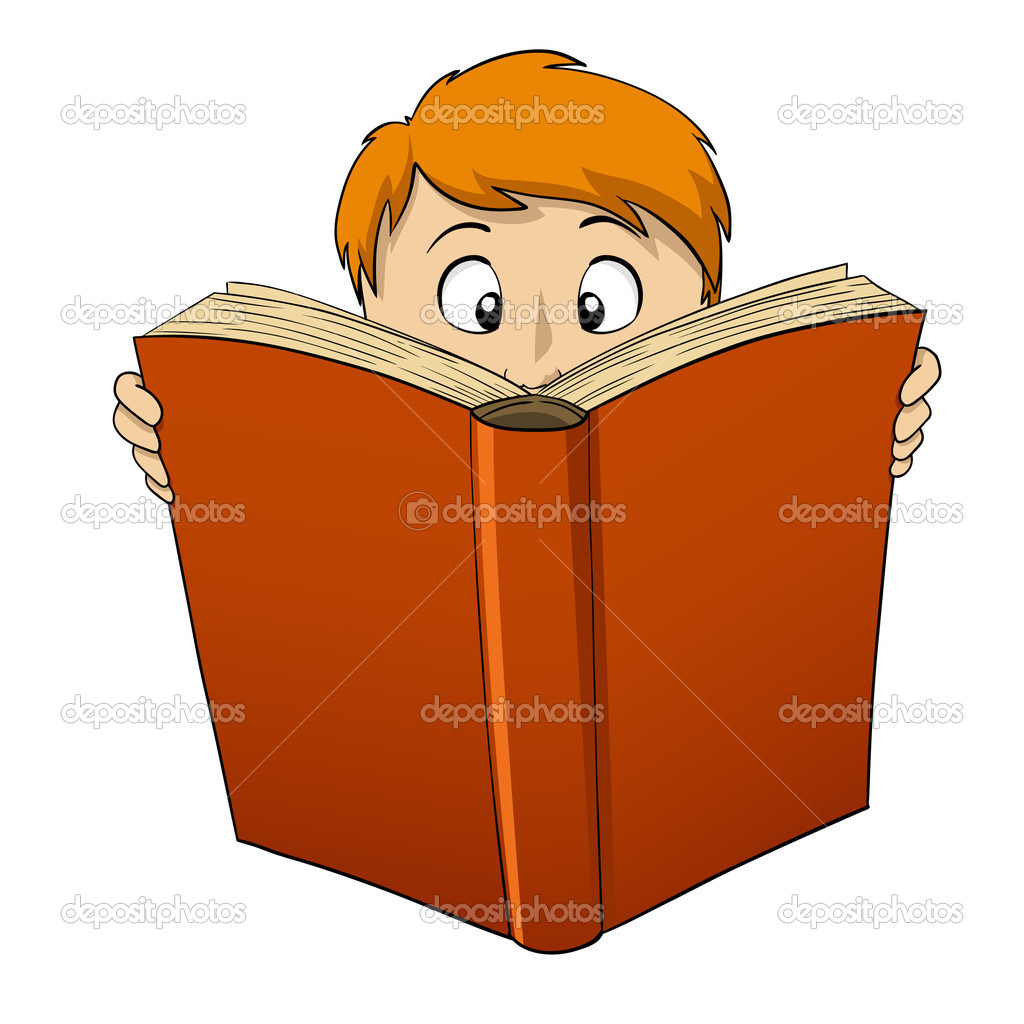 Imágenes Stock Libro Grande De Dibujos Animados Niño Lectura