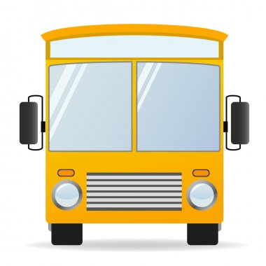 Cartoon yellow bus in front view