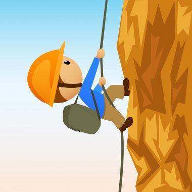 Cartoon rock climber on vertical cliffside
