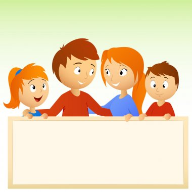 Cartoon family holding blank sign