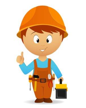 Cartoon handyman with tools belt and toolbox