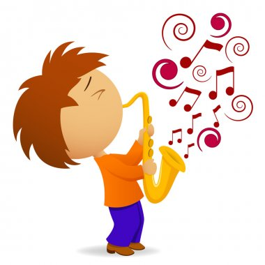 Vector illustration. Cartoon saxophonist with abstract music note clip art vector