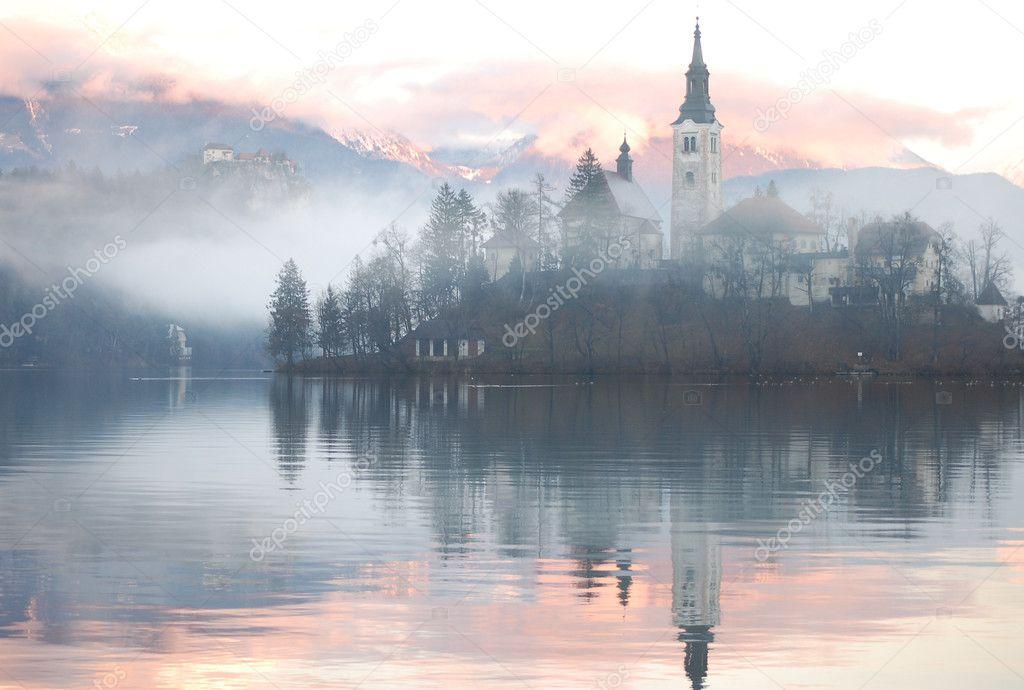 Misty Evening Reflection