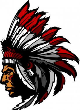 Graphic Native American Indian Chief with Headdress stock vector