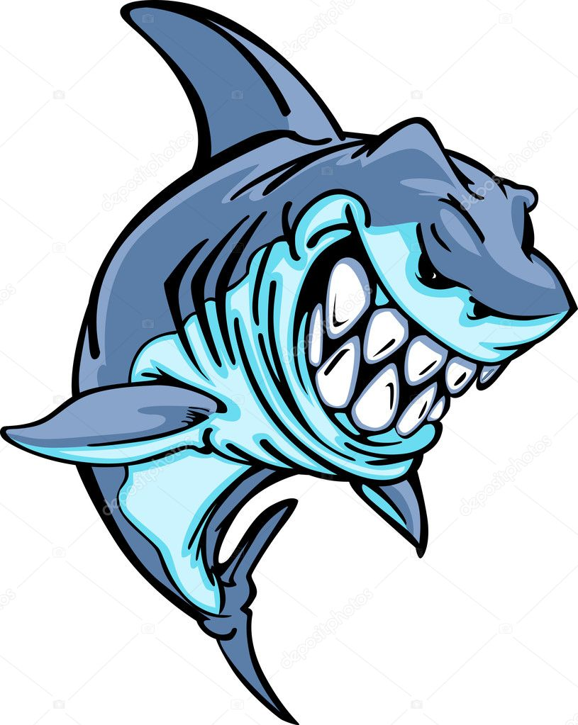 shark mascot cartoon image u2014 stock vector chromaco 6491582