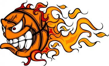 Flaming Basketball Face Vector Cartoon