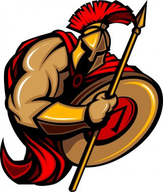 Spartan Trojan Mascot Vector Cartoon with Spear and Shield