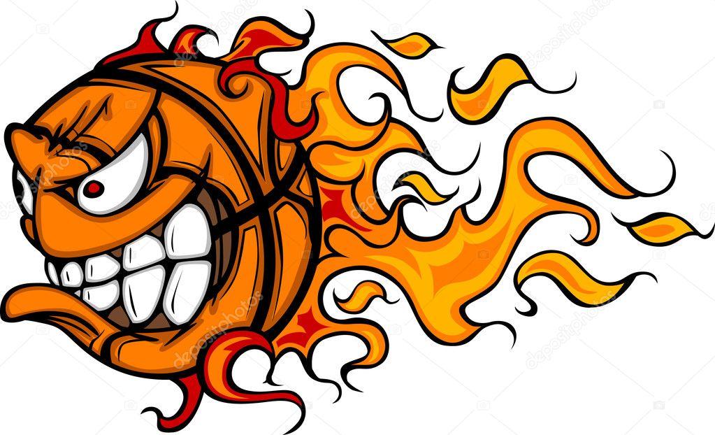 desenhos animados da vector rosto de basquete em chamas vetores de