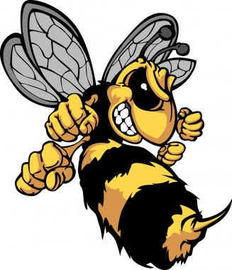 Cartoon Vector Image of a Yellow Jacket Wasp with Fighting Hands stock vector
