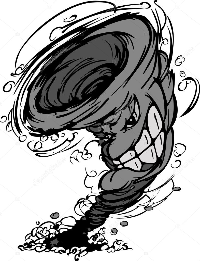 Storm Tornado Mascot Vector Cartoon Image