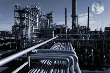 Oil industry, refinery at night