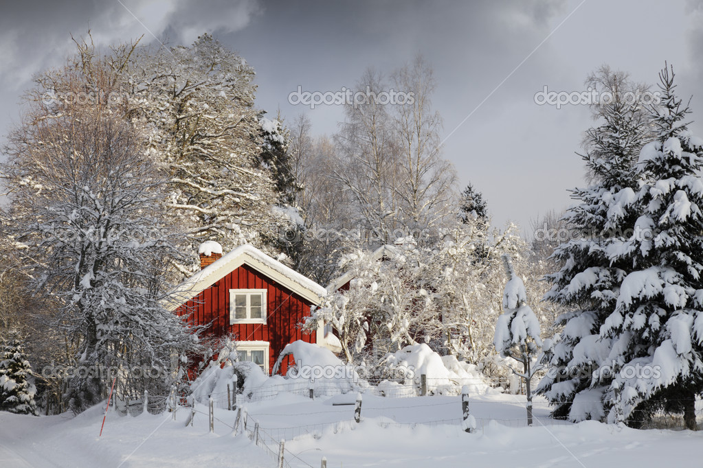 Red cottage, snowy winter and ice