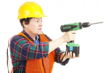 Female Construction Worker Drilling