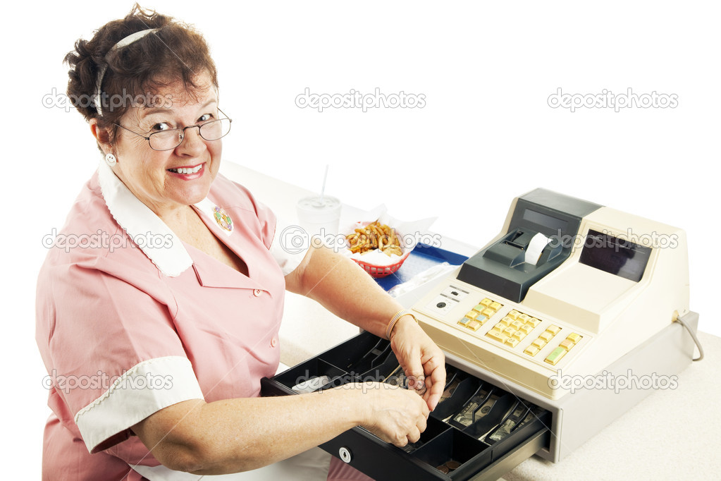 cheerful cashier stock photo  lisafx 6517007