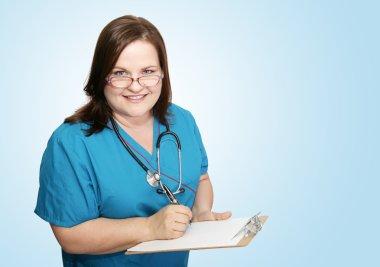 Nurse With Clipboard on Blue