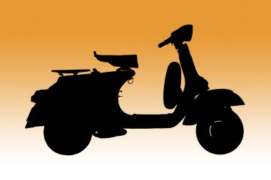 Vintage vespa, Classic Italian scooter as Silhouette