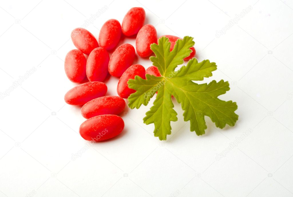 Red drugs with a herb, leaf