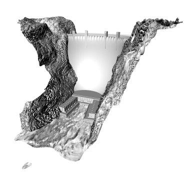 3d greyscale dam