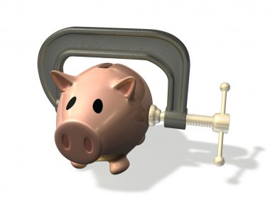 3d render piggy bank credit crunch