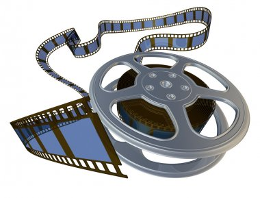 3d rendered film reel spooling from its case stock vector