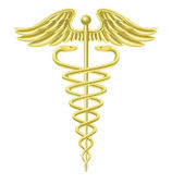 Caduceus gold medical symbol