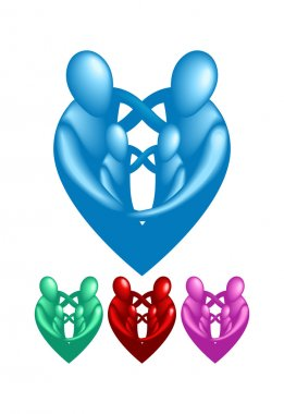 A loving protective family forming a heart shape. stock vector