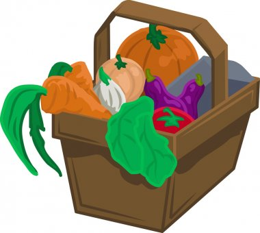 Vegetables and produce in basket