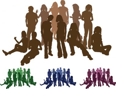 Group of friends silhouette illustration