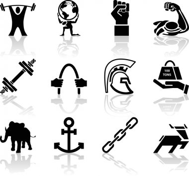 Conceptual icon set relating to strength