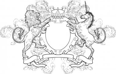 A black and white shield coat of arms element featuring a lion, unicorn and crown stock vector