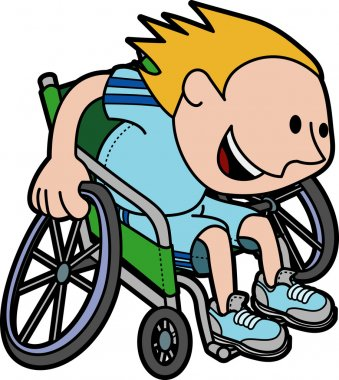 Illustration of boy racing in wheelchair