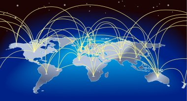A world map background with flight paths or trade routes stock vector