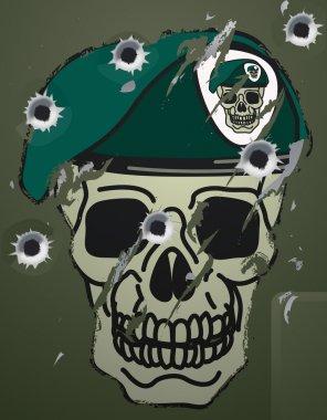 Retro skull and beret military motif