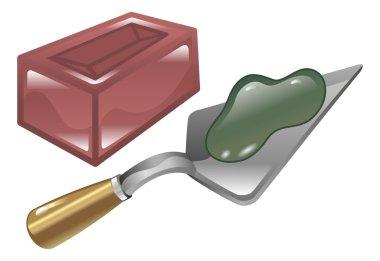 Brick mortar and trowel illustration