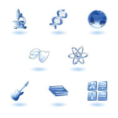 Glossy category education web icons