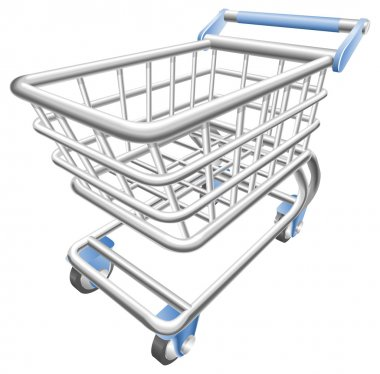 A shiny shopping cart trolley vector illustration