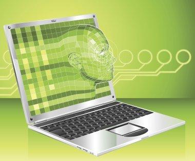 Laptop woman concept background Illustration