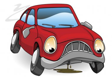 Sad broken down cartoon car