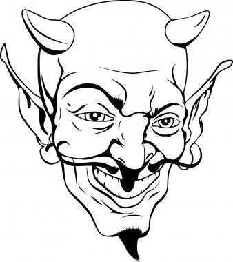 Monochrome devil face