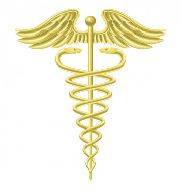 Caduceus gold medical symbol