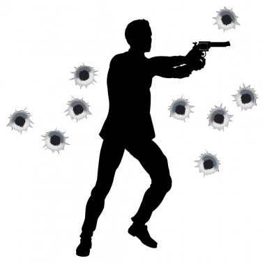 Action hero standing and shooting in film styleshoot out action sequence. With bullet holes. stock vector