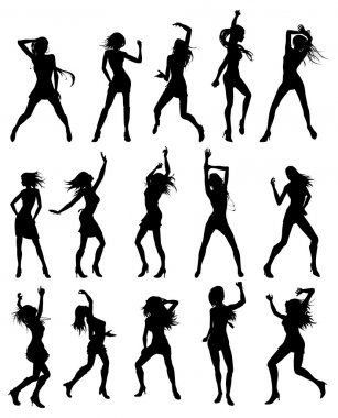 Silhouettes of sexy beautiful women dancing clip art vector
