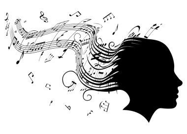 Woman head profile hair music concept