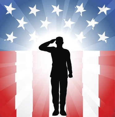 A patriotic soldier saluting in front of an American background stock vector