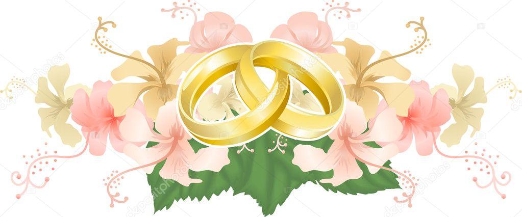 boda diseo entrelazado anillos de boda e hibiscus u ilustracin de stock